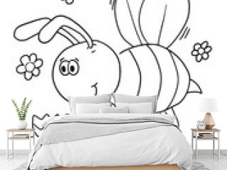 Bee Bug Coloring Book Page Vector Illustration Art