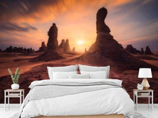 Rock Formations On Landscape Against Sky During Sunset,saudi Arabia