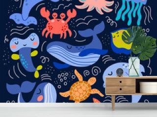 Set of cute sea animals in vector graphics on a blue background. For the design of covers, prints, wrapping paper, bags