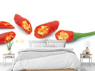 Chopped red chili pepper, Hot spice seasoning, Ingredients for spicy food, Isolated on white background