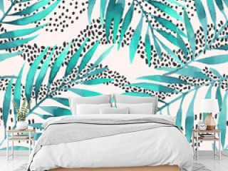 Tropical illustration for minimalist print, cover, fabric, scrapbooking wallpaper, birthday card background