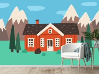 Exterior of little wooden village house in nature among trees and mountains. Countryside landscape with sweet nordic home. Colored flat vector illustration of rural building in Scandinavian style