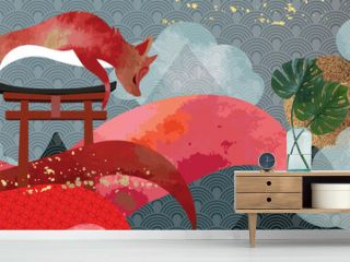 Asian background ,Oriental Japanese style abstract pattern background design  decorate in water color texture