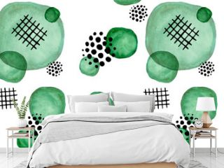 seamless pattern, black geometric doodles on a background of bright watercolor green spots. Doodles and watercolour stylized foliage, hand-drawn. children's doodles and greene