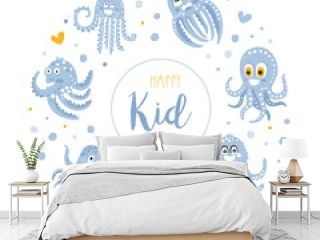 Happy Kid Banner Template with Cute Funny Light Blue Octopus in Circular Shape, Childish Banner, Poster, Background Design Vector Illustration