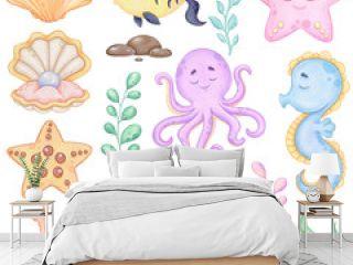 Watercolor underwater world clip art, Sea animals, Printable art