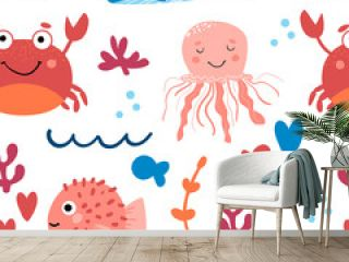 Seamless background with cute sea animals. Pattern with Crab, jellyfish, whale, and ball fish. For design, web, graphics, textiles and advertising. Vector illustration