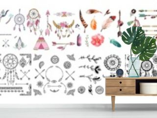 Set with boho elements, Watercolor Floral Boho Antler Print. Western Bohemian Decoratio, Ethnic tribal boho elements. Arrows and feathers, dividers borders, Boho elements