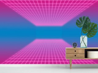 Pink and violet gradient retro-futuristic 80's glowing synthwave cyberpunk grid background with copy space