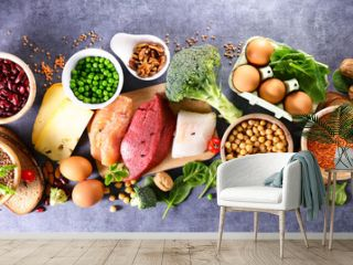 balanced diet food- selection of food hight in protein sources
