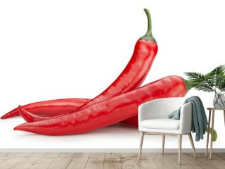 Three chili hot pepper clipping path. Chili pepper isolated on a white background. Fresh pepper