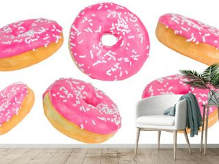 Close-up set of glazed pink donuts isolated on a white background.