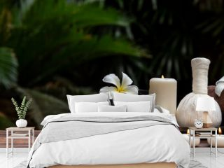 Thai spa massage. Spa treatment cosmetic beauty. Therapy aromatherapy for care body women with candles for relax wellness. Aroma and salt scrub setting ready healthy lifestyle, copy space for banner
