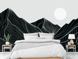 Black and white mountain line arts wallpaper, luxury landscape background design for cover, invitation background, packaging design, fabric, and print. Vector illustration.
