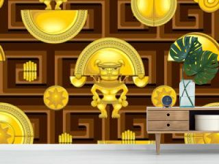 Aztec Warrior Golden Totem Symbol Vector Seamless Textile Repeat Pattern