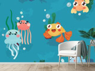Cute baby print with marine life. Seamless pattern with cartoon fish and jellyfish. Vector.