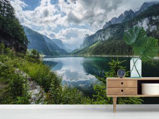 Dachstein Mountains reflected in Gosau beautiful lake, Austria