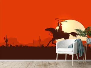 Silhouette Cowboy Riding Horse