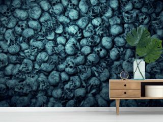 Apocalyptic scenery with human skulls. 3D rendering