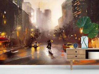 oil painting on canvas, street view of New York, man and woman, yellow taxi,  modern Artwork,  watercolor illustration New York