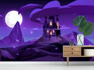 Magic castle at night on mountain fairytale palace
