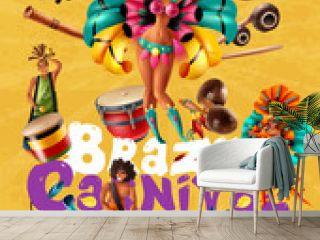 Brazil Carnival Poster With Dancers Musicians Masks Illustration