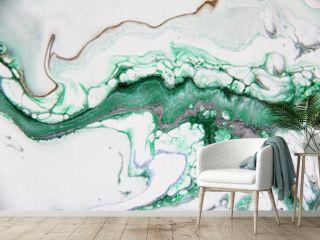 Liquid acrylic paints. Beautiful abstract background. Golden and colorful acrylic paints. Abstract ocean- ART.  Marble texture.