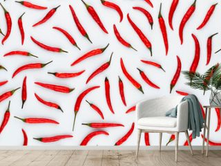 Red hot chili peppers pattern texture background.