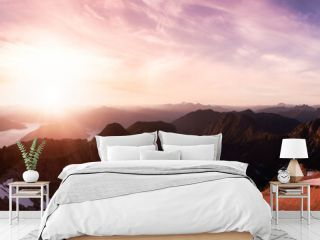 Panoramic View of Rocky Canadian Mountain Landscape. Sunny Summer Sunset Sky Art Render. Aerial Scene from Mnt Brunswick, near Vancouver and Squamish, British Columbia, Canada.