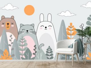 Children's wallpaper. Drawing with animals. Wallpaper for the children's room. Photo wallpapers. Children's greeting card. Fabulous forest.