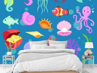 Big set of cute sea life creatures cartoon animals seton blue background vector illustration