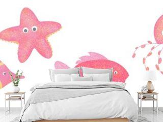 Set of four fantasy textured animals hand drawn digital illustration angelfish starfish fish jellyfish