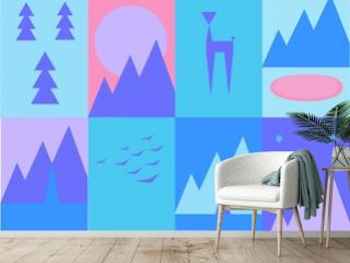 illustration with forest and mountain landscapes for nature reserves