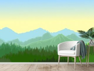 Pine forest. Silhouettes of coniferous trees. Morning. Wild landscape horizontally. Nice panoramic view. Beautifully illustration vector
