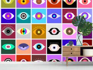 Eyes vector icon set. Large bundle of colored eye shapes, decorative symbols, design elements.