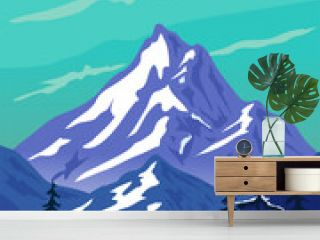 Wildlife vector illustration. Winter landscape