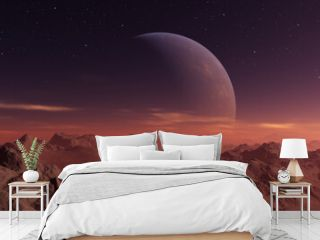 3d rendered Space Art: Alien Planet - A Fantasy frozen landscape with planets and blue skies