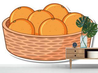 Sticker basket with many oranges
