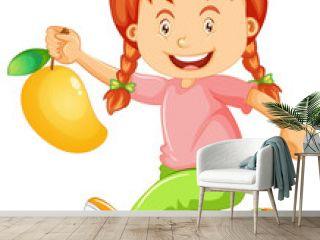 Happy girl cartoon character holding a mango