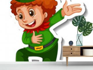 Sticker template with little elf cartoon character isolated