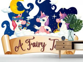 A Fairy Tale font with many unicorns cartoon character dancing on a cloud