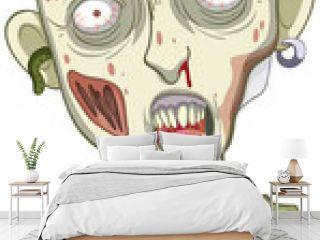 Creepy zombie face on white background