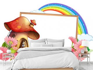 Empty banner with fantasy mushroom house and many flowers