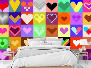 Hearts vector icon set. Large bundle of colored heart shapes, decorative symbols, design elements. Can be used as seamless background.