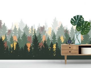Autumn season. Forest background, nature, landscape. Evergreen coniferous spruce trees and ash trees. Color silhouette. Vector illustration