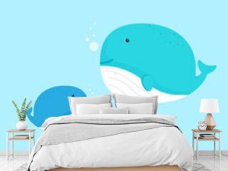 cute whale cartoon flat design