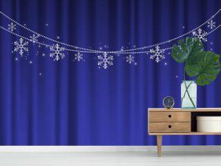 冬イメージの背景イラスト素材 青いカーテンと雪の結晶のガーランド ベクター クリスマス