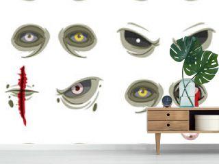 Set of many creepy zombie eyes