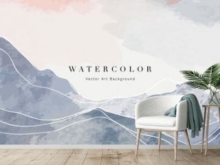 Mountain abstract art watercolor painting background vector. Landscape wallpaper, Wall art  for home decoration.