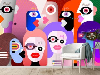 Large group of people modern art vector illustration. Abstract artwork of many different faces.